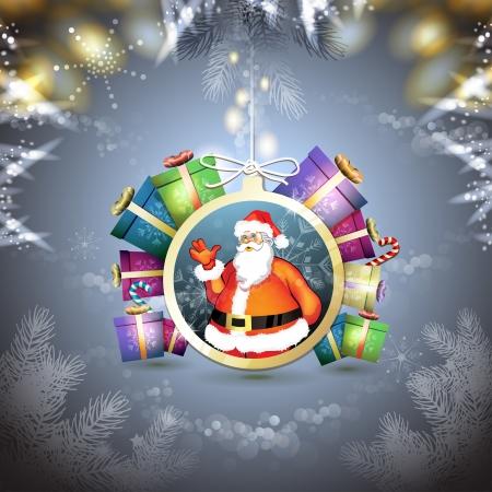new yea: Navidad con los regalos y Santa Vectores