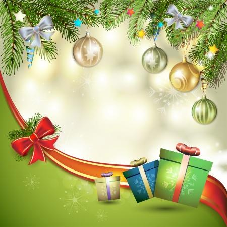new yea: Tarjeta de Navidad con la caja de regalos y el �rbol de pino