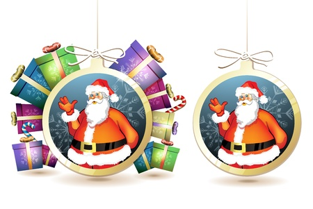 new yea: Christmas with gifts and Santa in hanging ball shape on white background