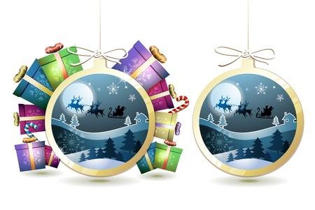 new yea: Navidad con los regalos y el trineo de Santa que cuelga en forma de bola en el fondo blanco