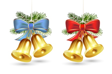 christmas bell: Christmas golden bells with red and blue bows on white background Illustration