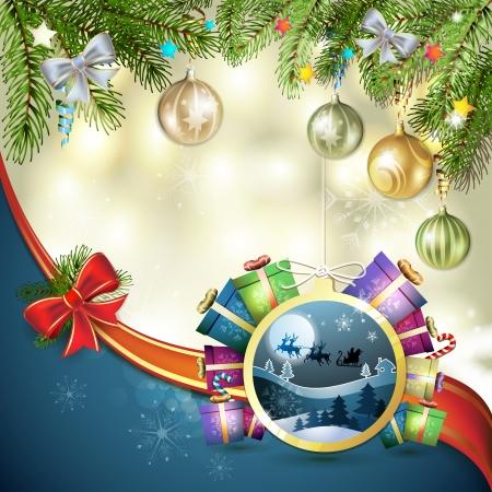 santa sleigh: Christmas with gifts and Santa sleigh
