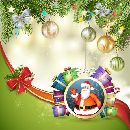 new yea: Tarjeta de Navidad con el regalo y Santa Vectores