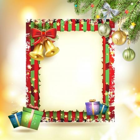 Çan ve eski kağıt Noel kartı