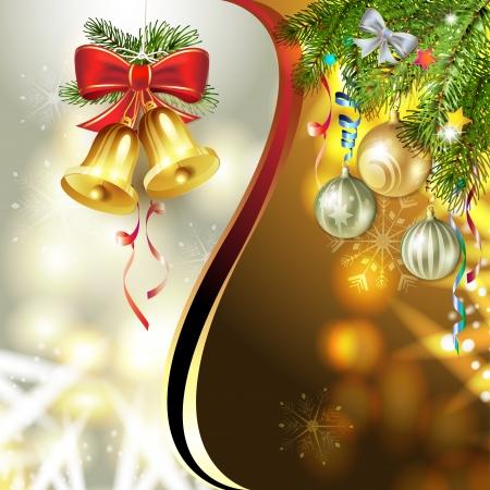 campanas de navidad: Campanas de Navidad con el árbol de pino
