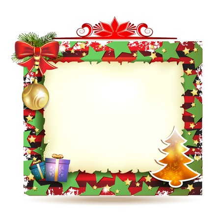 christmas frame: Christmas card with gifts and old paper