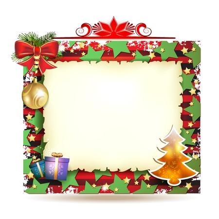 Kerstkaart met giften en oud papier Stock Illustratie