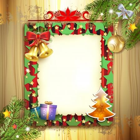 Kerstkaart met belletje en oud papier Stock Illustratie