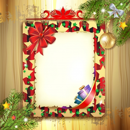 Christmas card with bow and old paper Stock Vector - 16793872