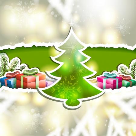 new yea: Tarjeta de Navidad con la caja de regalos y el ?ol de pino Vectores