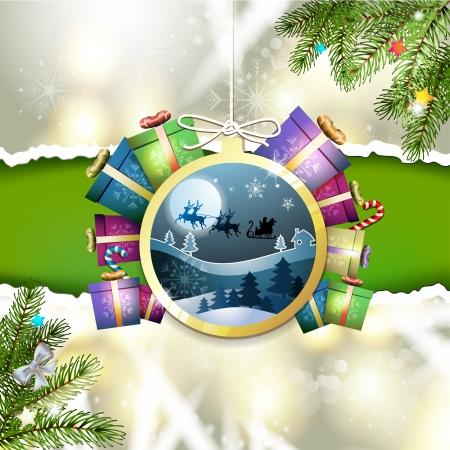new yea: Navidad con los regalos y el trineo de Santa que cuelga en forma de bola