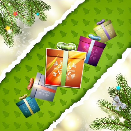 yea: Christmas card with gifts box and pine tree