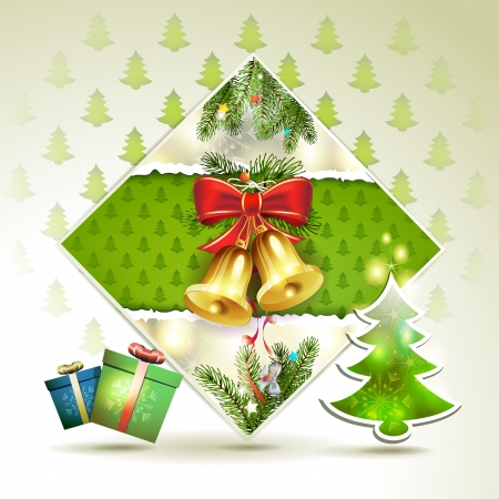 Christmas bells with pine tree Stock Vector - 16793881