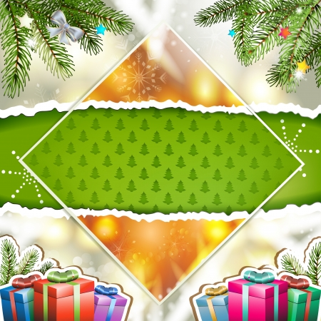 new yea: Christmas card with gifts box and pine tree