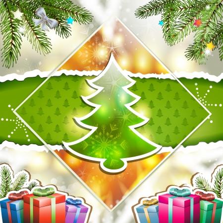 new yea: Tarjeta de Navidad con la caja de regalos y el ?rbol de pino