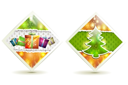 Christmas tree and gift box Vector