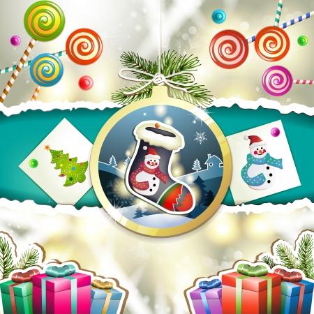 new yea: Navidad con los regalos y chupar cuelga forma de bola
