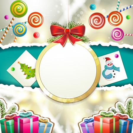 new yea: Christmas with gifts and hanging ball shape