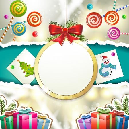 new yea: Navidad con los regalos y la forma de la bola colgante
