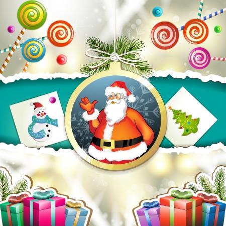new yea: Navidad con los regalos y Santa Claus en la bola colgante