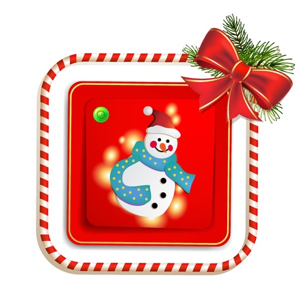 candy border: Christmas card with snowman, bow and pine tree