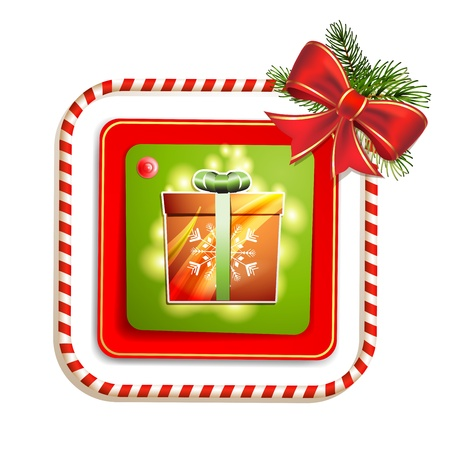 Christmas gift with bow and pine tree Stock Vector - 16793777