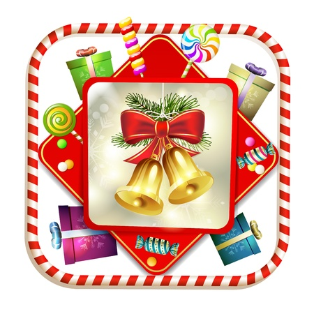 Christmas bells with pine tree and candy Stock Vector - 16793783