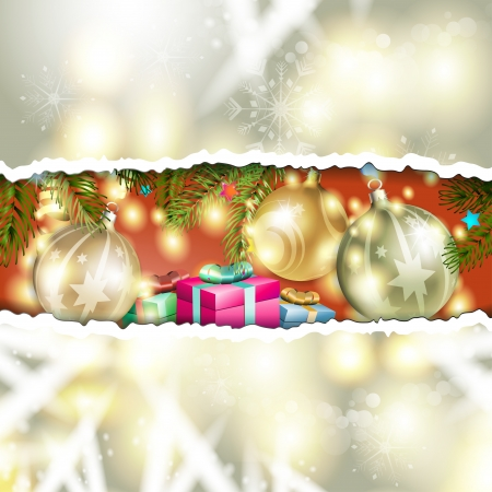 Christmas background with balls and pine tree Stock Vector - 17002183