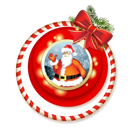 new yea: Santa and Christmas bow with pine tree