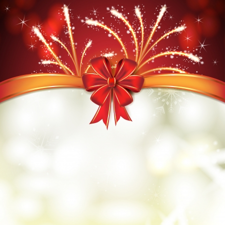 new yea: Christmas card with fireworks and bow