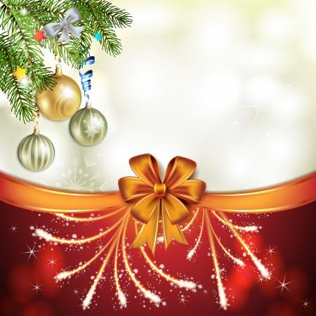 new yea: Tarjeta de Navidad con la bola y el arco