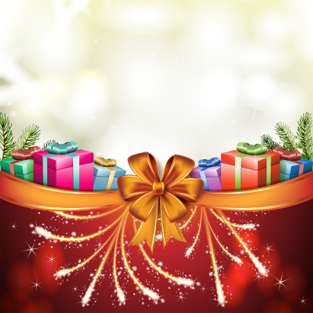 new yea: Christmas card with gifts box and bow