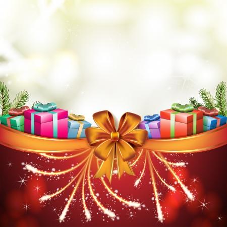 new yea: Tarjeta de Navidad con caja de regalo y el arco