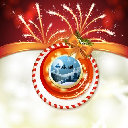 Santa sleigh and fireworks Stock Vector - 17002189