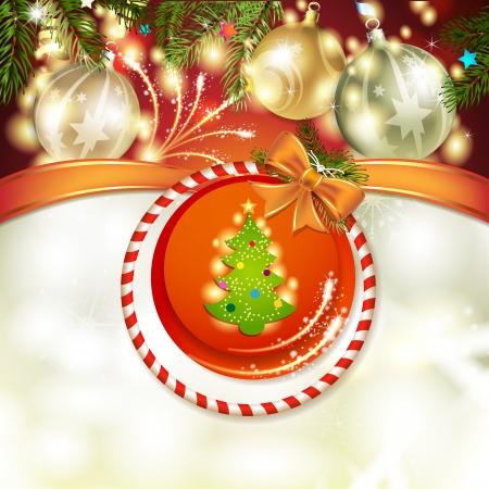 new yea: Christmas pine tree with ball