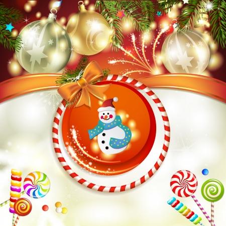 new yea: Snowman and Christmas ball with pine tree
