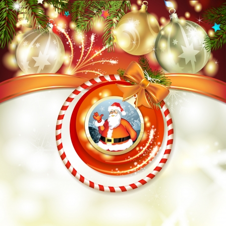 Santa and Christmas ball with pine tree Vector