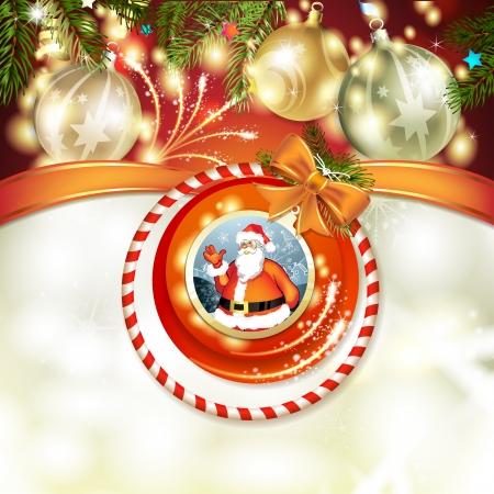 new yea: Santa and Christmas ball with pine tree Illustration
