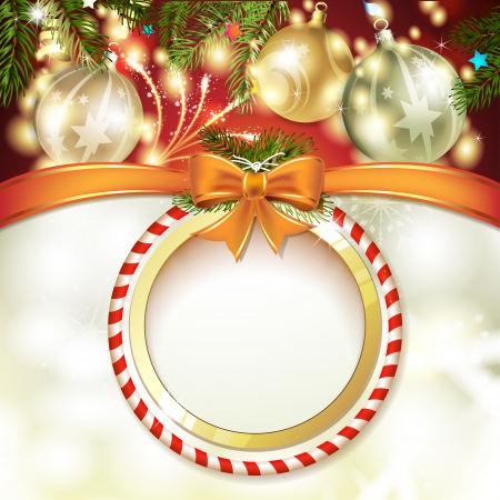 Christmas background with balls and pine tree Vector