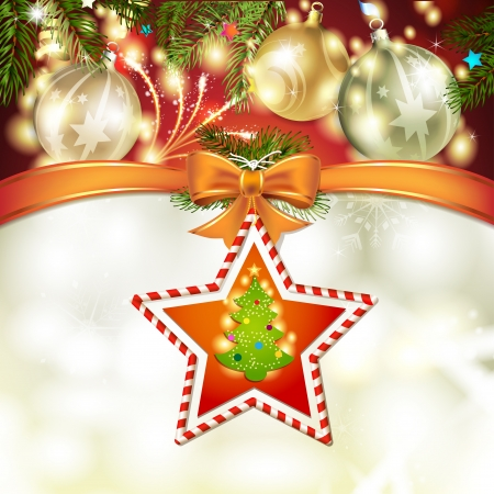 Christmas star with tree, bow and ball Stock Vector - 17002193