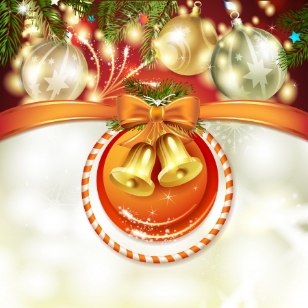 new yea: Christmas card with bells and bow