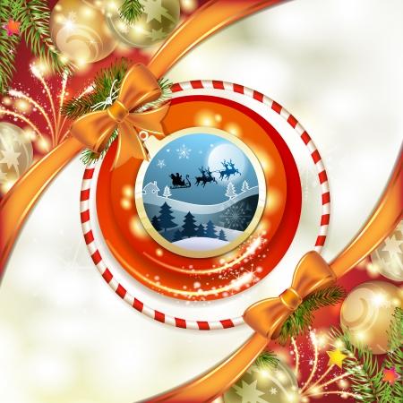 santa sleigh: Santa sleigh in shape ball Illustration