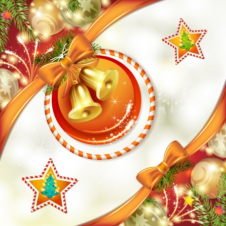 new yea: Tarjeta de Navidad con campanas y arco