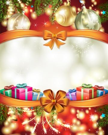 Christmas card with ball and gift Stock Vector - 17002569