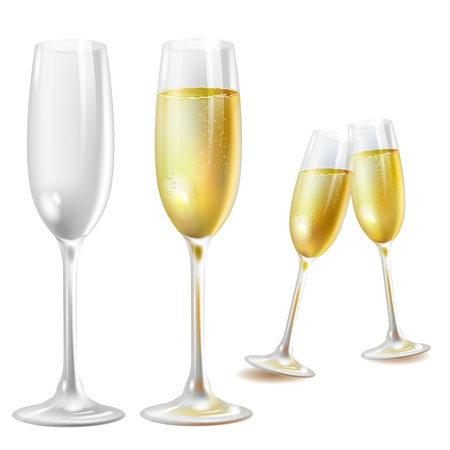 champagne toast: Two champagne glasses over white background