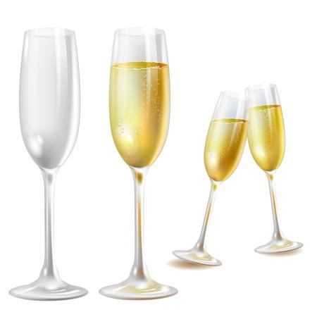 champagne glasses: Two champagne glasses over white background