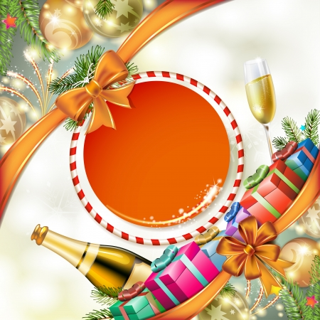 congratulating: Christmas card, gifts with champagne glasses and bottle