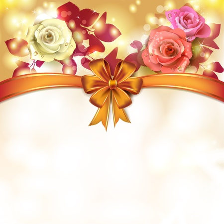 Background roses with orange bow Stock Vector - 17208199