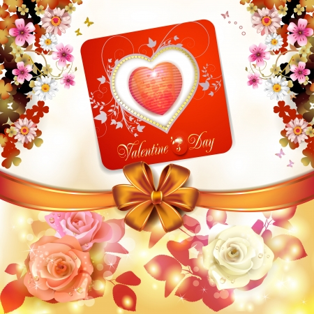 Valentine s day card with hearts and roses Stock Vector - 17208283