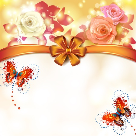 Background roses with orange bow and butterflies Stock Vector - 17208211